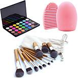 11pcs Makeup Cosmetic Eyebrow Foundation Kabuki Brushes Kits+28 Colors Eyeshadow Palette+Brush Cleaning Tool