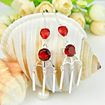 Luckyshine Holiday Gift Round Red Quartz Gem .925 Silver Drop Flower Earrings For Wedding Party Daily Holiday 1Pairs