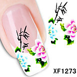 5Pcs Water Transfer Printing Beautiful Louts and Birds Pattern 3D Nail Stickers