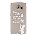 I Love You To The Moon Pattern Transparent PC Hard Back Cover Case for Samsung Galaxy S6/S6 Edge