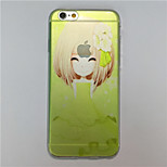MAYCARI®Young Girl Pattern TPU Soft Transparent Back Case for iPhone 6