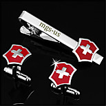 Personalized Gift Men's Engravable Silver Plain Cross Swiss Pattern Cufflinks and Tie Bar Clip Clasp(1 Set)