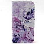 motif de fleurs violet pu cas de matériel pour iPhone 4 / 4S