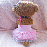 Holdhoney Pink Hang A Neck And Lace Edge Cotton Dresses For Pets Dogs (Assorted Sizes) #LT15050156
