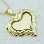 18K Golden Plated Muslim Allah Islamic Heart Pendant