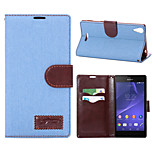 Denim Pattern Cloth Horizontal Flip Magnetic Buckle Leather Case with Card Slots & Holder for Xperia T3