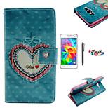 karzea ™ patrón de corazón floral caja de cuero de la PU con lápiz protector de pantalla y el enchufe del polvo para Samsung G530 gran