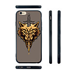 Sword and Wolf Pattern Silicone Rubber Edge Hard Back Case for iPhone 6