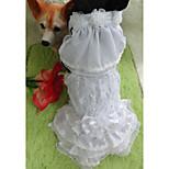 White Wedding Terylene Dresses For Dogs