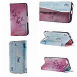 Baby Blue Butterfly Pattern PU Leather Double-Sided Leather Diagram For iPhone 5/5S