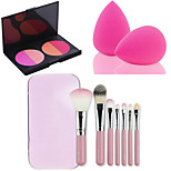 HOT SALE 7Pcs/set Pink Box Soft Kit Makeup Brush Tool+4 Colors Contour Face Powder Blush Makeup Palette + Powder Puff
