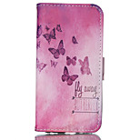 Red Butterfly Pattern PU Material Card Sided Bracket Full Body Case for iPhone 6