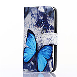 Blue Butterfly Pattern PU Leather Full Body Case with Stand and Card Slot for ZTE Blade S6