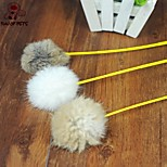 FUN OF PETS® Lovely Rabbit Hair Ball Shaped Squeaking Playing Stick for Pet Cats(Random Colour)