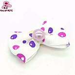 FUN OF PETS®Lovely Ribbon Style Spot Pattern Pearl Decorated Rubber Band Hair Bow for Pet Dogs  (Random Color)
