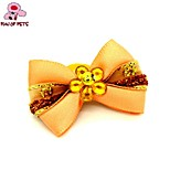 FUN OF PETS® Elegant Ribbon Style Flower Decorated Rubber Band Hair Bow for Pet Dogs  (Random Color)