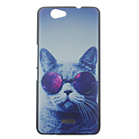 Glasses Cat Pattern PC Hard Case for Wiko Getaway