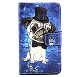Hat Dog Pattern PU Leather Painted Phone Case For Nokia N435