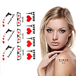 Sex Love Pistol Eiffel Tower Tattoo Stickers Temporary Tattoos(1 Pc)