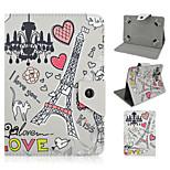 Eiffelturm Cartoon-Muster Qualitäts-PU-Leder mit Standplatzfall für 7-Zoll-Tablet-universal