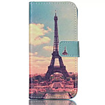 Painting Tower Pattern PU Leather Phone Case For iPhone 6