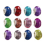 Diy Beads Metal Fashion Tube Shape Large Hole Beads 10Pcs(Random Color)