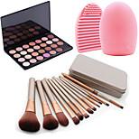 12Pcs Cosmetic Makeup Tool Blush Foundation Brush Set Box +28Colors Matt Eyeshadow Palette+1PCS Brush Cleaning Tool