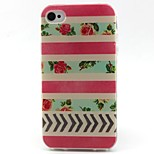 Flowers Pattern TPU Material Soft Phone Case for iPhone 4/4S