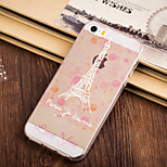 Pink Flower Iron Tower Pattern TPU Soft Case for iPhone 5/5S