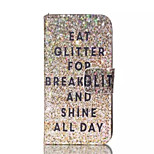 Glitter Breakfast Pattern PU Leather Painted Phone Case For iPhone 4/4S
