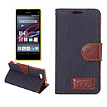 Denim Pattern Cloth Horizontal Flip Magnetic Buckle Leather Case with Card Slots & Holder for Xperia Z4 mini