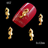10pcs 3D Glitter Alloy Nail Art Sliver Gold Plated Metal Charm Hippocampus Nail Arts Beauty Salon Supply 4*12mm