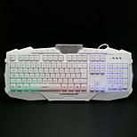 RUYINIAO M-500 USB 2.0 Wired 114-Key Rainbow Styling Professional Backlit Gaming Keyboard - White+Black