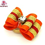 FUN OF PETS® Cute Two-Tone Ribbon Style Rhinestone Decorated Rubber Band Hair Bow for Pet Dogs  (Random Color)