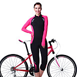 OUTTO Women's Breathable Reflective Long Sleeve Spring/Summer/Autumn Cycling Suits 3D Pad 3/4 Capri Tights Pants