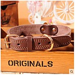 Defeng Large And Medium-Sized Dog Pet Collar Cowhide Leather Collar The Plate With High Quality Leather Collar