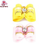 FUN OF PETS® Cute Ribbon Style Plaid Pattern Rhinestone Decorated Rubber Band Hair Bow for Pet Dogs(Random Colour)