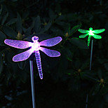 Pack of 2 Solar Color-Changing Dragonfly Garden Stake Light for Garden Landscape Lighting Pathway Stairway