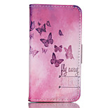 Red Butterfly Pattern PU Material Card Sided Bracket Full Body Case for iPhone 5/5S