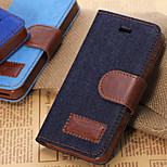 Denim Texture Horizontal Flip Leather Case with Card Slots & Holder for iPhone5S