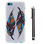 Color Double Feather Pattern TPU Soft Back and A Stylus Touch Pen for iPhone 5C