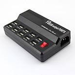 10 saída porta USB 5v 12a carregador rápido rápido carregador inteligente - preto (plug Reino Unido)
