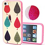 2-in-1 Bling Bling Leaves Pattern PC Back Cover with PC Bumper Shockproof Hard Case for iPhone 5G/5S