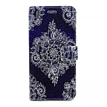 White Flower On Purple Pattern PU Leather Full Body Case with Card Slots And Stand for iPhone 6