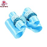 FUN OF PETS® Elegant Ribbon Style Blue Rhinestone Decorated Rubber Band Hair Bow for Pet Dogs