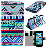 National Style Pattern with Card Bag Full Body Case for iPhone 5C
