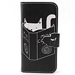 Kitten Reading Pattern PU Leather Full Body Case with Card Slot and Stand for iPhone 5C