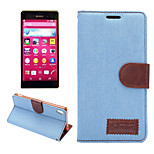 Denim Pattern Cloth Horizontal Flip Magnetic Buckle Leather Case with Card Slots & Holder for Xperia Z4
