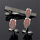 Personalized Gift Men's Engravable Black Plain Darth Maul Pattern Cufflinks and Tie Bar Clip Clasp(1 Set)