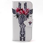 blanca cabeza de ciervo con el patrón de flores de cuero de la PU caso de cuerpo completo con ranura para tarjeta y presentarse a 5c